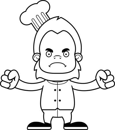 sasquatch: A cartoon chef sasquatch looking angry.