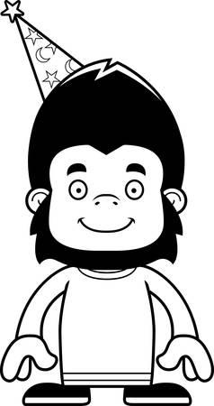 A cartoon wizard gorilla smiling. Ilustrace