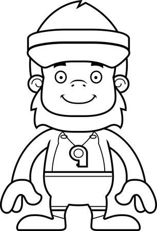 lifeguard: A cartoon lifeguard sasquatch smiling.