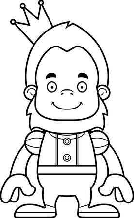 sasquatch: A cartoon prince sasquatch smiling. Illustration