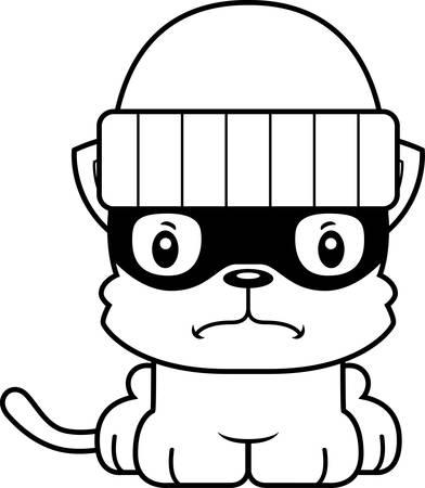 burglars: A cartoon thief kitten looking angry.