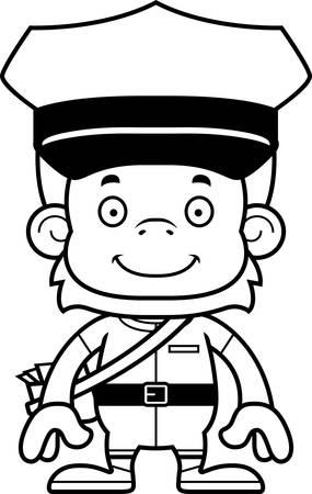 orangutan: A cartoon mail carrier orangutan smiling. Illustration