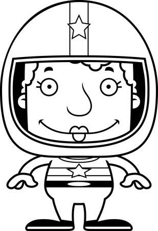 race car driver: A cartoon race car driver woman smiling.