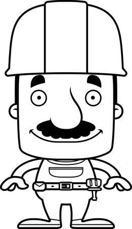 worker man: A cartoon construction worker man smiling.