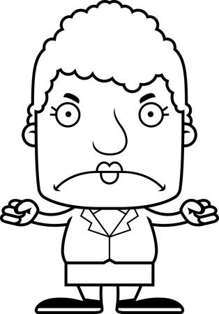 businessperson: A cartoon businessperson woman looking angry. Illustration