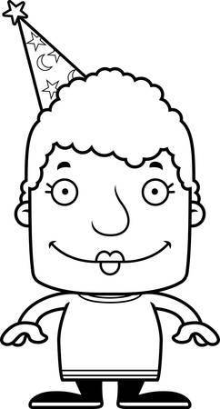 A cartoon wizard woman smiling. Reklamní fotografie - 44756170