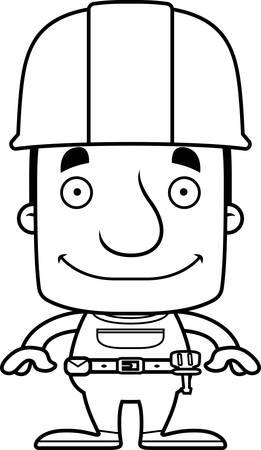 Een cartoon bouwvakker man glimlachend.