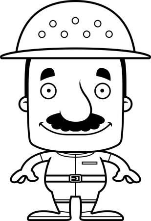 médula: Un hombre empleado del zoológico de dibujos animados sonriendo.