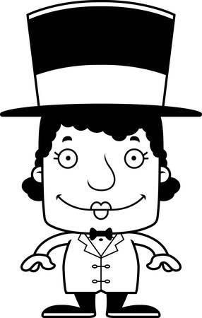ringmaster: A cartoon ringmaster woman smiling.