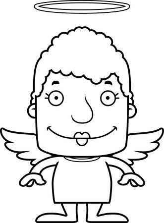 angel cartoon: A cartoon angel woman smiling. Illustration