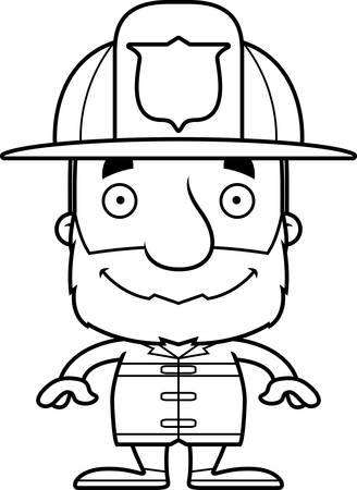 A cartoon firefighter man smiling.