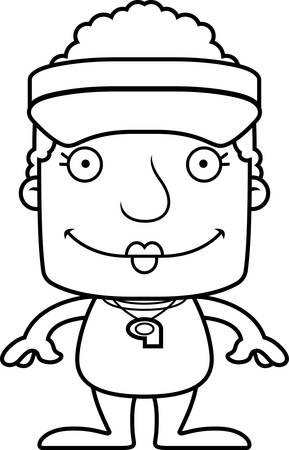 lifeguard: A cartoon lifeguard woman smiling.