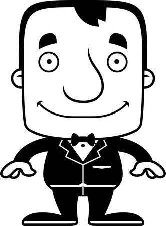 A cartoon groom man smiling.