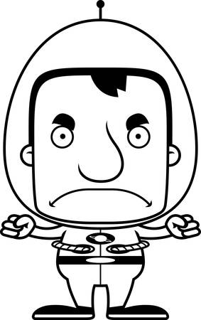 spaceman: A cartoon spaceman man looking angry.