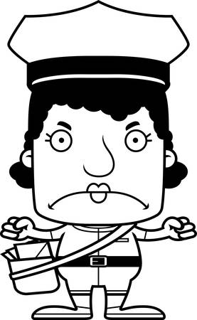 the carrier: A cartoon mail carrier woman looking angry.