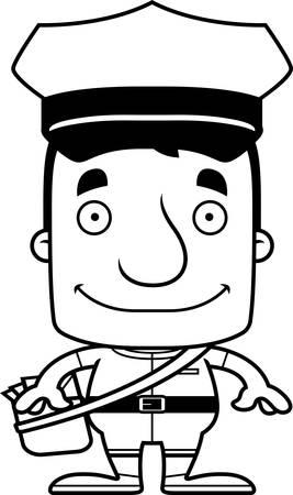 Een cartoon postbode man glimlachend. Stock Illustratie