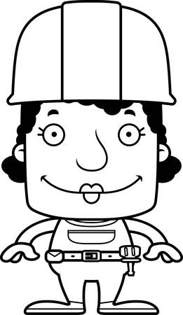 tool belt: A cartoon construction worker woman smiling. Illustration