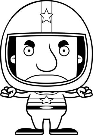 race car driver: A cartoon race car driver man looking angry.