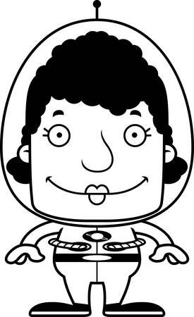 spaceman: A cartoon spaceman woman smiling.