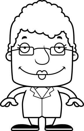 scientist woman: A cartoon scientist woman smiling. Illustration