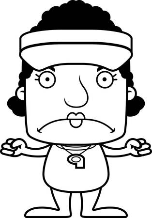 hat with visor: A cartoon lifeguard woman looking angry. Illustration
