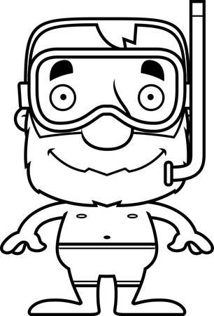 漫画シュノーケル男は笑みを浮かべてします。