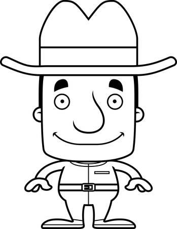 cowboy man: A cartoon cowboy man smiling. Illustration