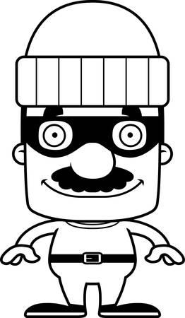 A cartoon thief man smiling.