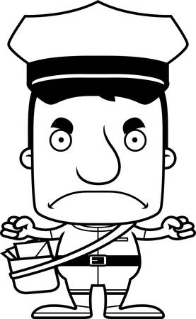 A cartoon mail carrier man looking angry.