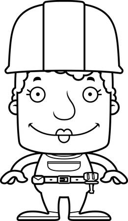 A cartoon construction worker woman smiling. Stock Illustratie