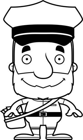 mail carrier: A cartoon mail carrier man smiling. Illustration