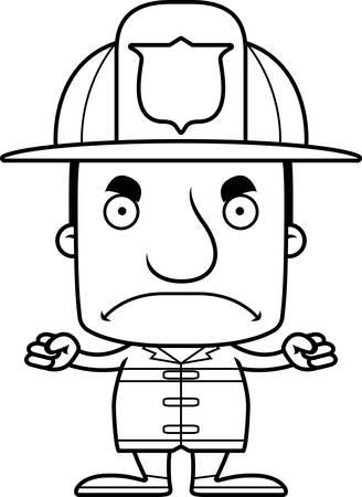 firefighter: Un hombre bombero historieta que parece enojado.