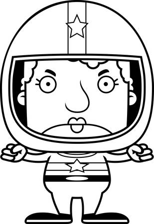 race car driver: A cartoon race car driver woman looking angry.