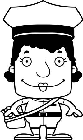 A cartoon mail carrier woman smiling.