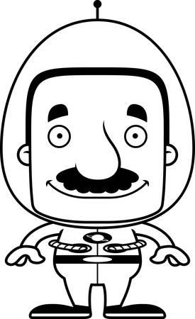 spaceman: A cartoon spaceman man smiling.