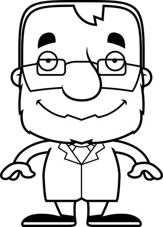 scientist man: A cartoon scientist man smiling. Illustration
