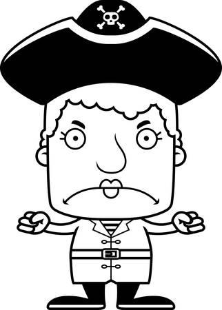 pirata mujer: Una mujer pirata de la historieta que parece enojado. Vectores