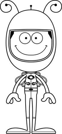 spacesuit: A cartoon astronaut bee smiling.