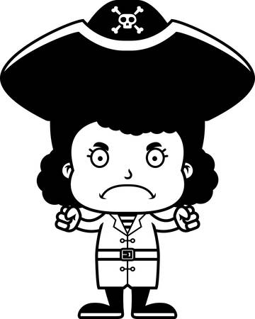 Een cartoon piraat meisje op zoek boos. Stock Illustratie