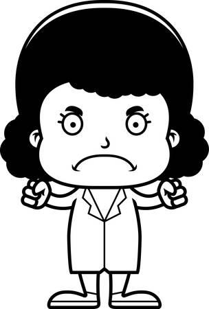 A cartoon doctor girl looking angry. Иллюстрация