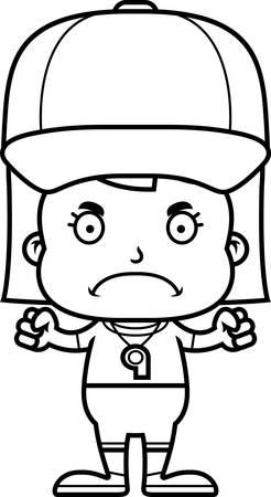A cartoon coach girl looking angry.