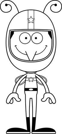 happy driver: A cartoon race car driver mosquito smiling. Illustration