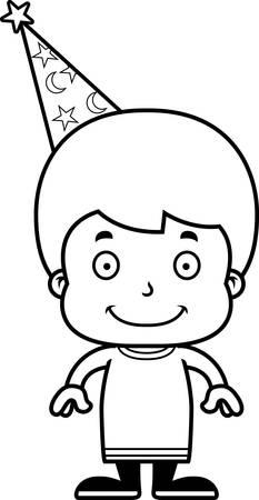 A cartoon wizard boy smiling. Reklamní fotografie - 44850135