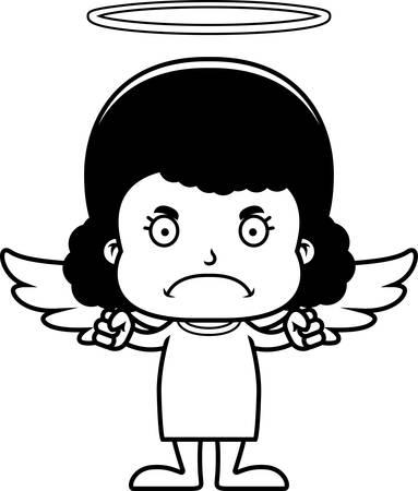 angry angel: A cartoon angel girl looking angry.