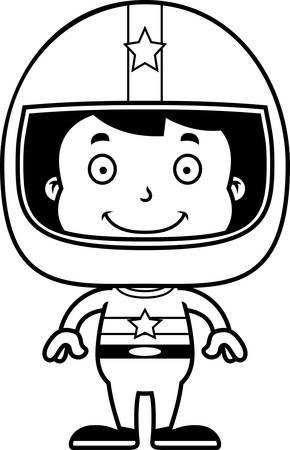 car driver: A cartoon race car driver boy smiling.