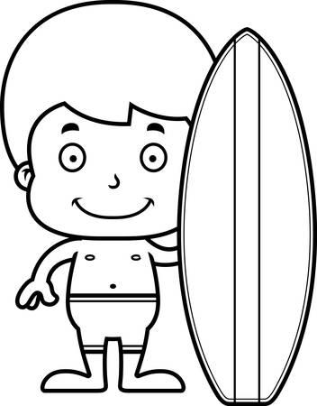 enfant maillot de bain: Un surfeur bande dessin�e gar�on souriant.