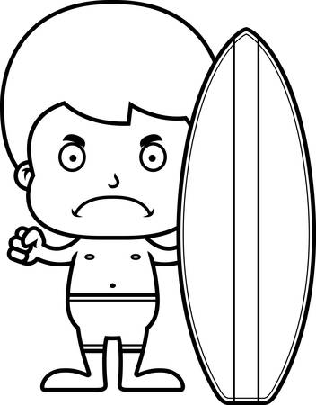 A cartoon surfer boy looking angry. Stock Illustratie