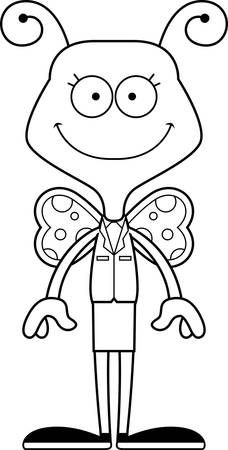 businesspersons: A cartoon businessperson butterfly smiling.