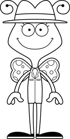 A cartoon detective butterfly smiling. Çizim