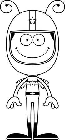 race car driver: A cartoon race car driver bee smiling.